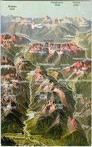 Dolomiten zwischen Toblach und Cortina d'Ampezzo. Photochromdruck 9 x 14 cm nach Original eines anonymen Illustrators; Impressum: Edition Photoglob Zürich um 1905.  Inv.-Nr. vu914pcd00261