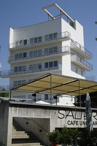 Das 1928 erbaute Turmhotel Seeber nach Entwurf von Lois Welzenbacher (heute Parkhotel) in Schönegg, Stadtgemeinde Hall in Tirol, Turnfeldgasse 1 nach Rekonstruktion und Restaurierung. Digitalphoto; © Johann G. Mairhofer 2013.  Inv.-Nr. 1DSC07250