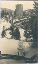 Bergfried der Burgruine Hörtenberg in Pfaffenhofen, Bezirk Innsbruck-Land, Tirol. Impressum: Foto-Technik A. Stelsky, Wien IX.; postalisch befördert 1927.  Inv.-Nr. vu914gs00372