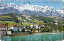 St. Nikolaus, dahinter Gebiet der ehemaligen Gemeinde Hötting mit Pension KAYSER und Hungerburg. Impressum: Wilhelm Stempfle, Innsbruck um 1910.  Inv.-Nr. vu914pcd00192