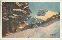 Der Gaisstein in den Kitzbüheler Alpen auf der Grenze von Jochberg (Bzk. Kitzbühel, Tirol) und Saalbach-Hinterglemm (Bzk. Zell a.S., Salzburg). Farbautotypie 9 x 14 cm, Entwurf: Bruno Hess (1884-1949); Eckart Verlag, Wien um 1920.  Inv.-Nr. vu105fat00028