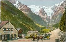 """Hotel """"Edelweiss in Trafoi, Gemeinde Stilfs im Vinschgau, Südtirol mit Ortler-Hauptkamm in den Ortler-Alpen. Photochromdruck 9 x 14 cm; Impressum: Edition Photoglob, Zürich um 1910.  Inv.-Nr. vu914pcd00276"""