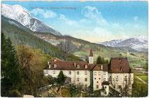 Ansitz Weiherburg in Hötting, Stadtgemeinde Innsbruck, Weiherburggasse 37 von Westen. Photochromdruck 9 x 14 cm; Impressum: Robert Warger, Innsbruck 1910.  Inv.-Nr. vu914pcd00194