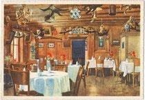 "Stube vom Hotel ""Zentral - Alte Post"" in Sterzing, Südtirol. Farbrastertiefdruck 10 x 15 cm; Impressum: Verlag Barabino & Graeve, Milano nach 1922.  Inv.-Nr. vu914frt00002a"
