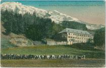Mineralbad in Baumkirchen bei Hall in Tirol. Farblichtdruck 9 x 14 cm; Impressum: E. Jilovsky,  Prag 1916.  Inv.-Nr. vu914fld00053