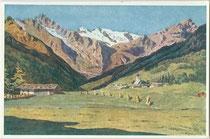 Gschnitz mit den Tribulaunen und der Stubaier Gletscherregion. Farboffsetdruck 9 x 14 cm nach einem Aquarell von Johann Jordan (1874-1946). Impressum: Buchdruckerei Tyrolia, Innsbruck um 1930.  Inv.-Nr. vu914fod00004