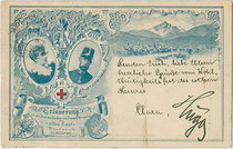 """""""Erinnerung an das Fest des Landes- und Frauenhilfsvereins vom 'rothen Kreuz' - Innsbruck 23. Oktober 1897"""". Autotypie 9x14cm; kein Impressum.  Inv.-Nr. vu914at00019"""