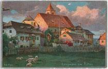 Deutschordenskommende in Lengmoos, Gemeinde Ritten. Entwurf: R. A. Höger; Joh(ann). F(ilibert). Amonn, Bozen; postalisch gelaufen 1907.  Inv.-Nr. vu914fat00007