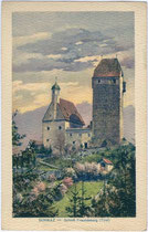 Burg Freundsberg über Schwaz. Photochromdruck 9 x 14 cm; Impressum: Verlag Monopol, Kunst- und Verlagsanstalt, München um 1925.  Inv.-Nr. vu914pcd00188