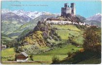 Die MICHELSBURG in St. Martin, Gemeinde St. Lorenzen. Photochromdruck 9x14cm; Josef Werth, Toblach; postalisch gelaufen 1912.  Inv.-Nr. vu914pcd00010