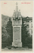 Das Peter-Mayr-Denkmal (eingeweiht 1900) am Pfarrplatz in Bozen. Lichtdruck 9 x 14 cm; Stengel & Co., Dresden 1911.  Inv.-Nr. vu914ld00155