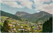 St. Ulrich In Gröden. Photochromdruck 9 x 14 xm; Impressum: Joh(ann). F(ilibert). Amonn, Bozen; postalisch gelaufen 1910.  Inv.-Nr. vu914pcd00228