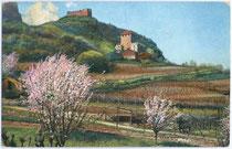 Burgen KORB und BOYMONT in Missian, Gemeinde Eppan.Photochromdruck 9x14cm; kein Impressum, um 1910.  Inv.-Nr. vu914pcd00001