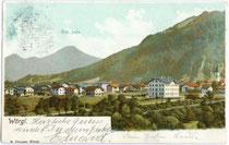 Wörgl mit Krankenhaus gegen Hohe Salve, postalisch gelaufen 1902. Kombinationsfarbdruck 9x14 cm, R. Plunger, Wörgl.  Inv.-Nr.  vu914kfd00005a