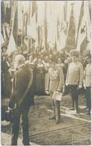 Kaiser Franz Joseph I. und Thronfolger Franz Ferdinand von Österreich Este  beim Festumzug zur Hundertjahrfeier in Innsbruck im August 1909. Gelatinesilberabzug 9x14cm, K(arl). DORNACH, Innsbruck.  Gelatinesilberabzug 9x14cm.  Inv-Nr.  vu914gs00044