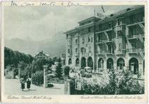 """Grand Hotel """"Savoy"""" in Cortina d'Ampezzo. """"Facciata ad Est con Becco di Mezzodi e Croda da Lago"""". Rastertiefdruck 10 x 15 cm; Impressum: Barabino e Graeve, Genova; postalisch gelaufen 1937.  Inv.-Nr. u105rtd00001"""