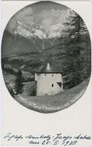 Rondell (Wehrturm) vom Ansitz ARNHOLZ in Pfons bei Matrei am Brenner (ehem. Deutsch-Matrei). Gelatinesilberabzug 9x14cm; kein Impressum; datiert 25.2.1930.  Inv.-Nr. vu914gs00360