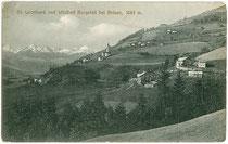 Wildbad Burgstall in St. Leonhard, Stadtgemeinde Brixen am Eisack, ehem. Gef. Grafsch. Tirol (seit 1919 Südtirol). Lichtdruck 9 x 14 cm; Impressum: Rud(olph). Largajolli, Kammerphotograph, Brixen am Eisack 1910.  Inv.-Nr. vu914ld00057