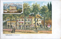 """Kaffeehaus Restaurant """"Schlosskeller"""" (heute Burghauptmannschaft vom Schloss Ambras), Besitzer: Alois Munaretto, Schlossstraße16, Amras. Farbautotypie 9 x 14 cm, Künstlersignatur: """"MR Co.""""; Impressum: Verlag Ohnewein & Cie., Innsbruck um 1900.  Inv.-Nr. v"""
