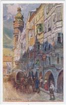 """Zweispänniger Planwagen vor dem Gasthof """"zur Rose"""" (heute: Swarovski) in der Herzog-Friedrich-Straße 39, Innsbruck-Altstadt. Farbautotypie 9 x 14 cm nach einem Original von E. F. Hofecker 1911; Inv.-Nr. vu1914fat00071"""