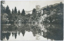 Burg PETERSBERG und Schlossweiher in Silz. Gelatinesilberabzug 9x14cm; kein Impressum um 1925.  Inv.-Nr. vu914gs00378