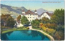 Garten mit Teich vom Schloss Kaps in der Bezirkshauptstadt Kitzbühel, Tirol. Photochromdruck 9 x 14 cm; Impressum: Fotografie und Verlag Josef Herold, Kitzbühel um 1910.  Inv.-Nr. vu914pcd00200