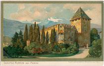 Burg RUBEIN in der Christomannosstraße 38 in Obermais. Chromolithographie 9 x 14 cm; Entwurf: M(ichael). Zeno Diemer um 1900.  Inv.-Nr. vu914clg00008