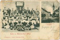 """""""Turn- u. Athleten-Club Wörgl."""" Zweiteilige Mehrbildkarte mit Mannschaftsbild und Abbildung vom Clublokal. Lichtdruck 9 x 14 cm; Impressum: R(aimund). Haselberger, Wörgl um 1900.  Inv.-Nr. vu914ld00268"""