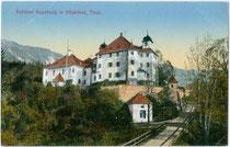 "Schloss Kaps in Kitzbühel. Photochromdruck 9 x 14 cm; Impressum: Verlag von Martin Ritzer, Buchdruckerei, Kitzbühel; handschriftl. dat. ""1910-11-12"".  Inv.-Nr. vu914pcd00201"