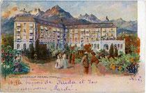 """Ehemaliges Hotel (heute Hotelfachschule) """"Kaiserhof"""" in Meran, Habsburgerstraße (heute Freiheitsstraße) 155. Farbautotypie 9 x 14 cm nach einem Original von Artur Nikodem. Impressum: S. Pötzelberger, Meran um 1910.  Inv.Nr. vu914fat00027"""
