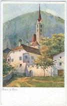 Ansitz Lidlhof und Pfarrkirche zum Hl. Georg in Vahrn bei Brixen am Eisack, Südtirol. Farbautotypie 9 x 14 cm nach Original eines anonymen Künstlers um 1910.  Inv.-Nr. vu914fat00005