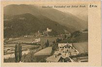 """Schulhaus von Patriasdorf, Gemeinde Lienz an der Isel. Rastertiefdruck 9 x 14 cm; Impressum: Kunstverlag W. Hoffmann, Lienz; handschriftlich datiert""""2.11.(19)24"""".  Inv.-Nr. vu914rtd00027"""