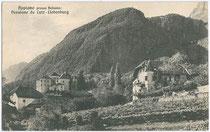 Ansitze LIEBENBURG (Pension Lutz) und GANDEGG in Pigenò, Fraktion St. Michael, Gemeinde Eppan. Heliogravüre 9x14cm; Lorenz Fränzl, Bozen; postalisch gelaufen 1937.  Inv.-Nr. vu914hg00018