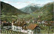 Ansitz Rosenstein in Obermais mit Texelgruppe. Kombinationsfarbdruck 9 x 14 cm; Impressum: Otmar Zieher, München um 1910.  Inv.-Nr. vu914kfd00015