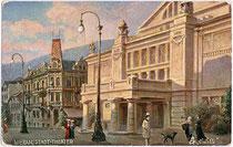Das 1900 eröffnete Stadttheater der Kurstadt Meran am Theaterplatz. Farbautotypie 9 x 14 cm nach Original eines anonymen Künstlers, Impressum: Oilette - Raphael Tuck & Sons, Berlin um 1910.  Inv.-Nr. vu914fat00034
