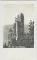 Burgruine Schrofenstein in Stanz bei Landeck. Gelatinesilberabzug 9 x 14 cm; Impressum: J. Scheer, Landeck um 1920.  Inv.-Nr. vu914gs00264