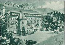 Hotel GOLDENE ROSE, Am graben 36b, Bruneck. Rastertiefdruck 10 x 15 cm; Entwurf: Künstlersignatur unbekannt, Verlag: S.A.I.G.A., Genova um 1935.  Inv.-Nr. 105rtd00005
