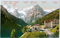 """Hotel """"Neue Post"""" in Trafoi,Gemeinde Stilfs im Vinschgau, Südtirol mit Ortler-Hauptkamm in den Ortler-Alpen. Photochromdruck 9 x 14 cm (Bergnamenkarte); Impressum: Photoglob Zürich um 1910. Inv.-Nr. vu914pcd00241"""