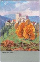 Schloss Itter am Eingang ins Brixental im Herbst.Farbautotypie 9 x 14 cm ohne Impressum nach einem Entwurf eines anonymen Künstlers um 1900. Inv.-Nr. vu914fat00066