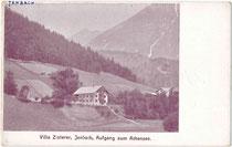 """Pension """"Villa Zisterer"""" an der alten Achenseestraße in Jenbach, Bezirk Schwaz, Tirol. Autotypie 9 x 14 cm ohne Impressum, um 1905.  Inv.-Nr. vu914at00033"""