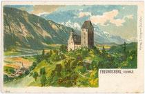Burg Freundsberg von Südwesten. Farbautotypie 9 x 14 cm; Entwurf: Signatur unleserlich; Impressum: Verlag S. Wagner, Schwaz um 1900.  Inv.-Nr. vu914fat00069