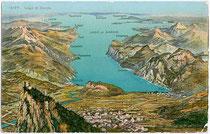 Panoramagemälde vom Gardasee, im Vordergrund die Alt-Tiroler Orte Arco, Nago-Torbole und Riva del Garda.  Photochromdruck 9x14cm; Wehrli AG, Kilchberg-Zürich; postalisch gelaufen um 1910.  Inv. Nr. vu914clg00005