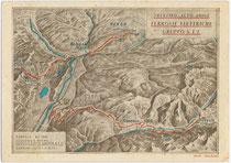 Überetscher Bahn (1898-1971), Rittnerbahn und Fleimstalbahn (1917-1963), dargestellt in einer Panoramaansicht von R. Parsch. Farbautotypie 10 x 15 cm; Impressum: Ferrovie elettriche Gruppo S.T.E. 1949.  Inv.-Nr. vu105fat00010