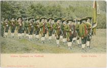 """""""Tiroler Trachten - Schützen-Kompagnie von Waidbruck"""". Farblichtdruck 9 x 14 cm; Impressum: Stengel & Co., Dresden u(nd). Berlin um 1900.  Inv.-Nr. vu914fld00051"""