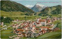 """""""Steinach am Brenner 1050 m gegen Süden"""". Photochromdruck 9 x 14 cm; Impressum: Karl Redlich, Innsbruck, Meraner Straße 6 um 1925.  Inv.-Nr. vu914pcd00206"""