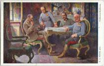 """""""Feldherren-Konferenz."""" v.l.n.r. wohl Rudolf Stöger-Steiner von Steinstätten, Conrad von Hötzendorf, Paul von Hindenburg und Ehzg. Friedrich. Farbautotypie 9 x 14 cm; Impressum: W.R.B. & Co., Wien III., nach Original von R.A. Höger Inv.-Nr. vu914fat00127"""