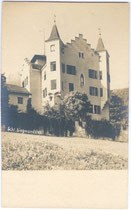 Ehemaliges Jagdschloss von Sigmund (ab 1477) Erzherzog von Tirol Sigmundslust in Vomp bei Schwaz, Tirol von Südwesten. Albuminabzug 9 x 14 cm ohne Impressum, um 1900.  Inv.-Nr. vu914gs00458