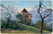 Burg KAMPENN im Frühjahr. Photochromdruck 9x14cm; Joh(ann). F(ilibert). Amonn, Bozen um 1907.  Inv.-Nr. vu914pcd00024
