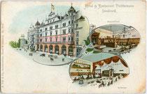 """Ehem. Hotel & Restaurant """"Tochtermann"""" (heute u.a. MPreis-Filiale) in Wilten (1904 nach Innsbruck eingemeindet), Grenzstraße 3 (heute: Maximilianstraße) um 1895. Chromolithographie 9 x 14 cm; A. Trüb & Cie., Aarau u. Lausanne.  Inv.-Nr. vu914clg00016"""