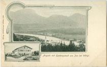 Angath am Inn gegen Kastengstatt mit gleichnamigem Gasthaus (auf Vignette). Lichtdruck 9 x 14 cm (Mehrbildkarte); Impressum: Rud(olf). Berger, Wörgl um 1900.  Inv.-Nr. vu914ld00255